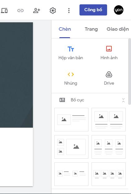 thiết kế web bằng google site