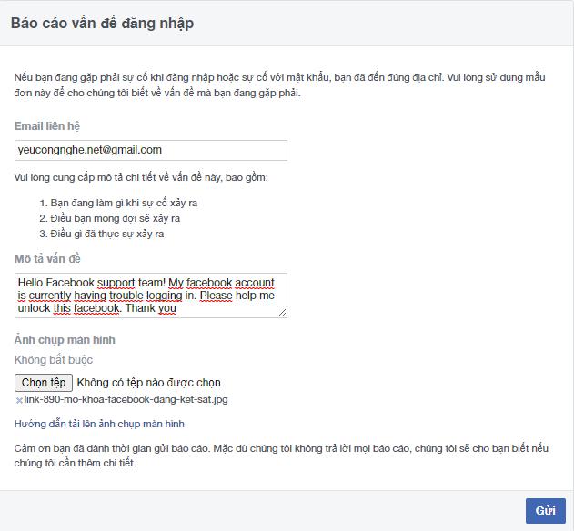Biểu mẫu mở khóa tài khoản fb qua link 890